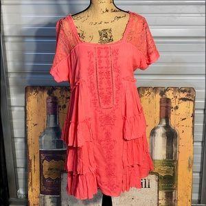 Free People lace and layered ruffles dress